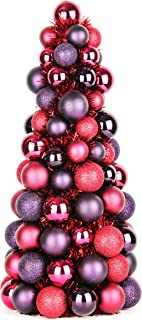 Costyleen 16 Inch Christmas Ball Tree Fireplace Table Decoration Home Party Decorative Ball Ornaments Xmas Tree Decors Dark Red Purple