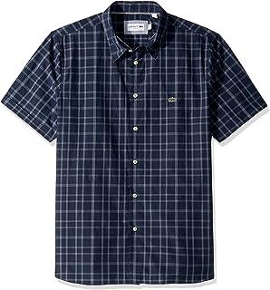 Lacoste Men's S/S Checks Casual Non Button Down Collar Slim Fit