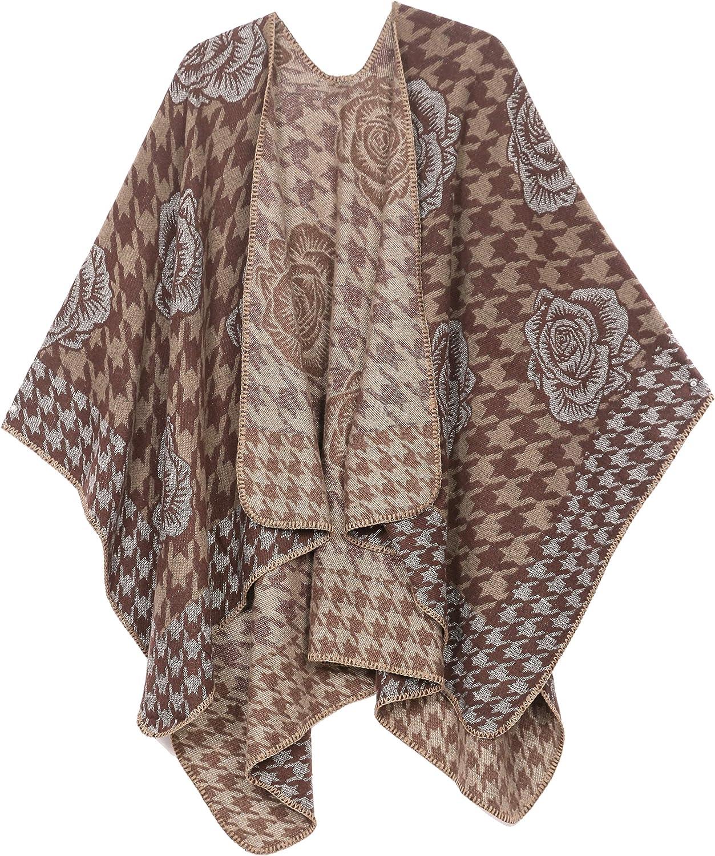 Sakkas Lupe Womens Reversible Poncho Wrap Cape Shawl Sweater Coat Cardigan Pattern