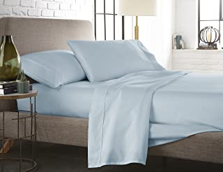 Westbrooke Linens 400 Thread Count 100% Long-Staple Cotton Pleated Hem Sheet Set, Solid Sateen Weave, Wrinkle Free, Elastic Deep Pocket, Hotel Collection, Luxury Bedding Sheet Set (Twin, Blue Sky)