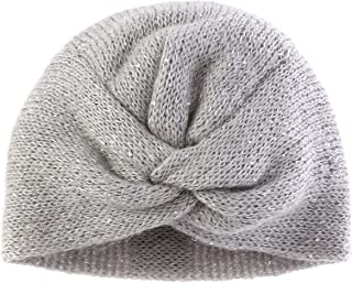 FANTASIE TERRENE - Firenze. Turbante in Lana Mohair con Paillette - Grigio Chiaro. Made in Italy