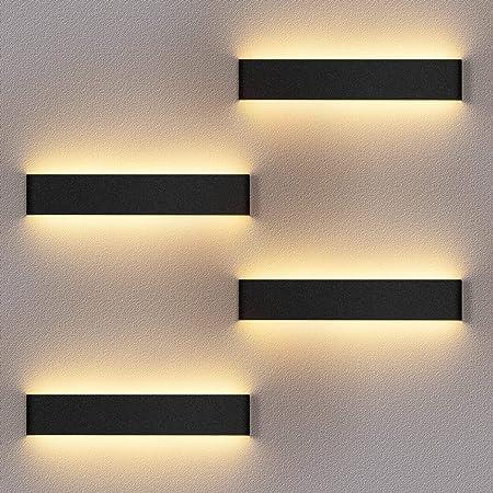 4 Pack Applique Murale Interieur LED Noir Lampe Murale 3000K Blanc Chaud Moderne Up Down Appliques Murales 12W Luminaire Mural pour Chambre Salon Escalier Couloir
