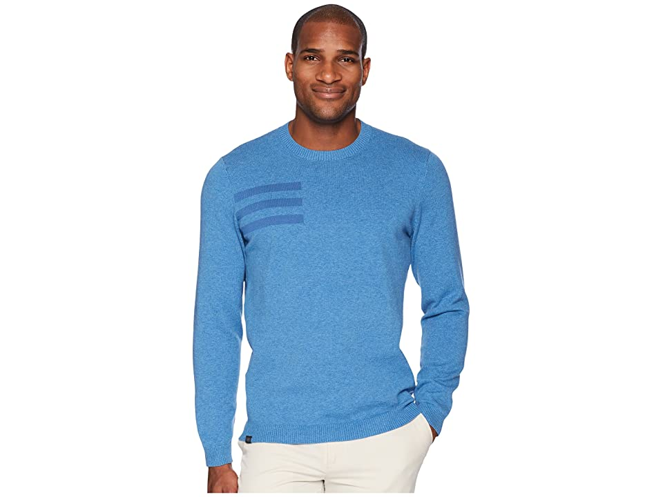 adidas Golf 3-Stripes Crew Neck Sweater (Trace Royal Heather) Men