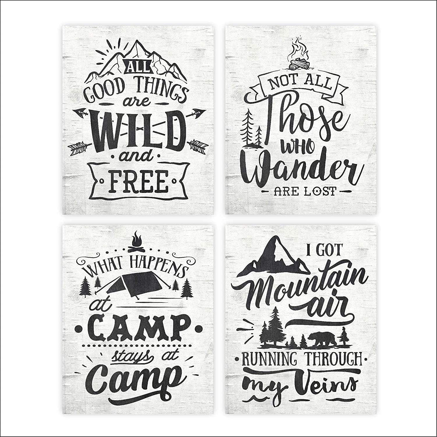 Rustic Nature Quotes Art Prints sold out Set 4 Unframed of - 8x10s price
