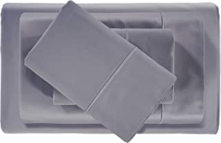 Egyptian Cotton Blend Bed Sheets - 1000 Thread Count Bedding Set with Sateen Weave and Deep Pocket Fitted Sheet - 4 Piece Luxury Bedding Sets for Dorm, Guest Room or Bedroom - KING, CHARCOAL