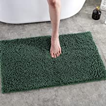 Bath Rugs Chenille Bathroom Rug Mat Soft Absorbent Water Shaggy Rugs Plush Non-Slip Carpet Mat,20 x 30 Inch (Green)