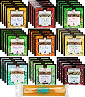 Twinings Large Leaf Hot Tea Sampler Gift Pack 36 Ct - 9 Flavor Variety Includes Green, Black, Herbal, Earl Grey, English Breakfast, Camomile and More with By The Cup Honey Sticks