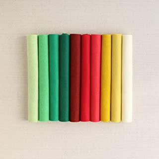Wool Felt, Christmas Colors, 10 Sheets of red and Green Wool Blend Felt (10 9x12 inch Sheets)