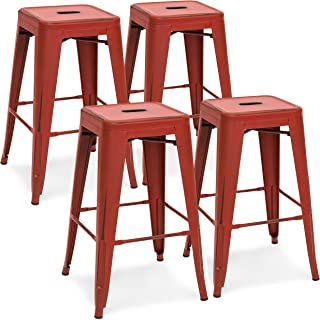 Best Choice Products 24in Metal Industrial Distressed Bar Counter Stools, Set of 4, Red