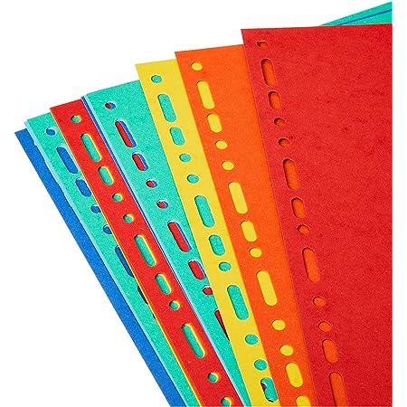 Exacompta - Réf. 2112E - Intercalaires en carte coloris vifs recyclée 220g/m2 avec 12 onglets neutres - Format à classer A4 maxi - Dimensions 24,5 x 29,7 cm