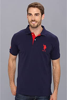 Slim Fit Big Horse Polo w/ Stripe Collar