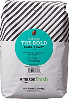 AmazonFresh Go For The Bold Ground Coffee, Dark Roast, 32 Ounce