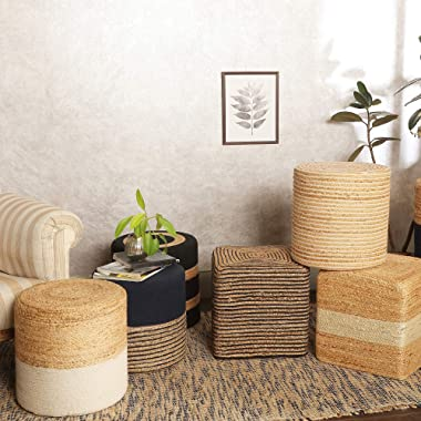 REDEARTH Cube Pouf Foot Stool Ottoman -Stylish Boho Pouffe Poof Accent Chair Footrest for The Living Room, Bedroom, Nursery,