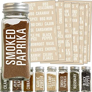 Talented Kitchen 134 White All Caps Spice Label Set: 134 Spice Names + Numbers. White Letters on Clear Sticker. Water Resi...