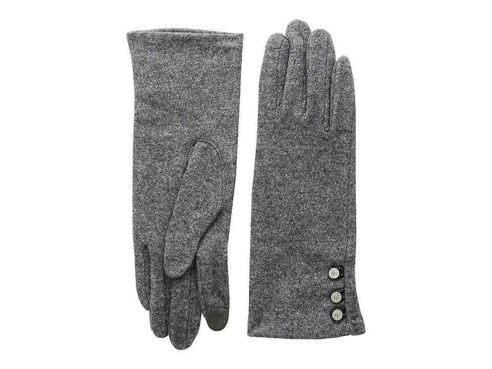 LAUREN Ralph Lauren Three-Button Touch Gloves (Dark Grey Heather) Wool Gloves