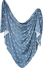 Large Premium Knit Baby Swaddle Receiving Blanket Navy and White Triangles