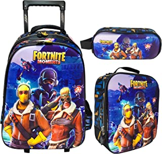 3D FORTNITE SCHOOL TROLLEY BAG WITH BACKPACK FOR KIDS BOY INCLUDE LUNCH BAG AND PENCIL CASE/POUCH (18 INCH)