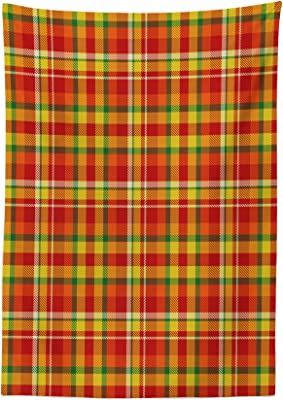 Ambesonne Geometric Tablecloth, Classic British Scottish Tartan Pattern Colorful Design Tile Illustration, Dining Room