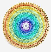糸かけ曼荼羅の制作キット レインボー曼荼羅 64ピン釘打ち板 18色糸セット 作り方マニュアル付き 糸かけアート 手芸キット 材料セット 簡単 初心者用