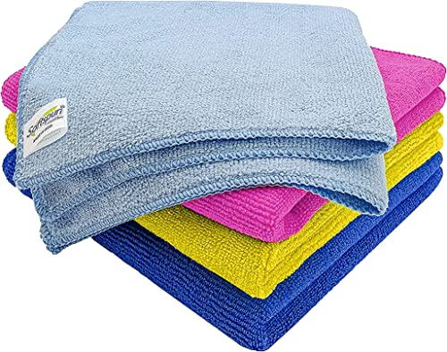 SOFTSPUN Microfiber Cleaning Cloths, 4pcs 40x40cms 340GSM Multi-Colour! Highly Absorbent, Lint and Streak Free, Multi...