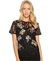 CATHERINE Catherine Malandrino Short Sleeve Lace Embroidered Scoop Neck Top