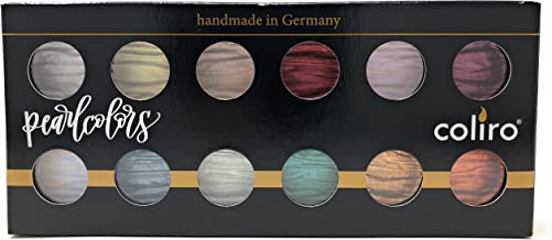 Coliro M1200 Mica Pigment Rich Pearl Watercolor Paint - Set of 12