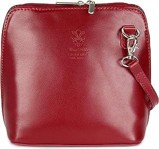 Belli ital. Ledertasche Damen Umhängetasche Handtasche Schultertasche - 17x16,5x8,5 cm B x H x T Bordeaux 2