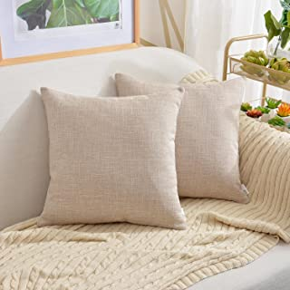 NATUS WEAVER 2 Tones Woven Throw Pillow Cushion Cover Soft Faux Linen Home Decorative Hand Made Pillowcase for Travel Use, 24