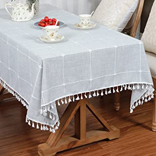 LUCKYHOUSEHOME Cotton Linen Checked Lattice Tablecloth Embroidery Tassel Table Cover for Home Kitchen Dinning Tabletop Rec...