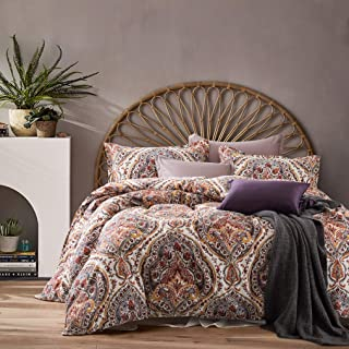 Cynthia Rowley 3pc Full Queen Cotton Duvet Cover Set Paisley Moroccan Medallion Coral Red Blue Taupe (King, Terracotta)