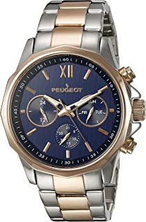 Peugeot Men's 146TBL Stainless Steel Two-Tone Rose Gold Multi-Function Calendar Two-Tone Watch