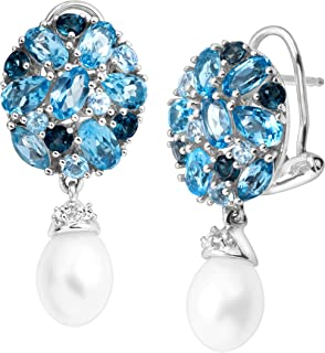Freshwater Pearl and 5 1/8 Natural Blue and White Topaz Drop Earrings in Sterling Silver