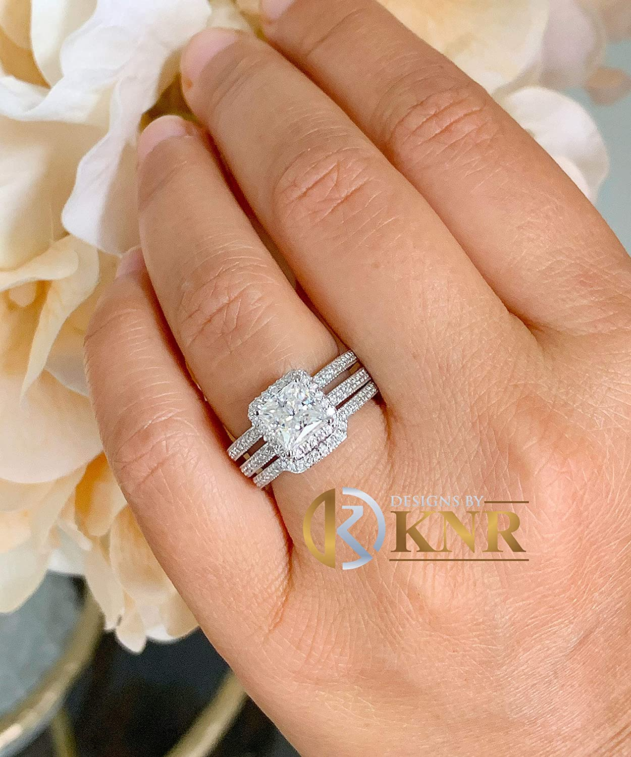 Large 14K Solid Directly managed store And Luxury Heavy White Princess Gold Simu Round Cut