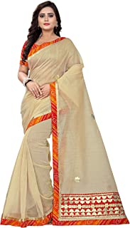 Jaanvi fashion Women's Net Bandhej Gota Work Saree (gota-Patti-chikoo)
