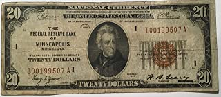 Rare $20 National Currency 1929 Brown Seal Federal Reserve Bank of Minneapolis Minnesota USA Scarcer Early Type Note