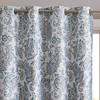 HLC.ME Amalfi Paisley Faux Silk 100% Blackout Room Darkening Thermal Lined Curtain Grommet Panels for Bedroom - Energy Efficient, Complete Darkness, Noise Reducing - Set of 2 (Neutral, 52