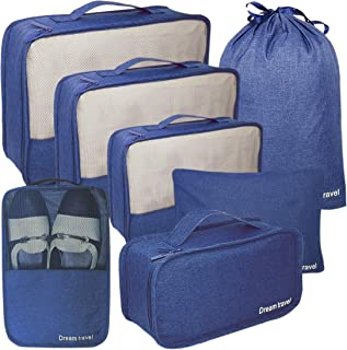 Packing Cubes my FL 6pcs Backpack Organizers Set with Shoes Bag Travel Luggage