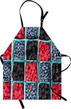 Lunarable Fruits Apron, Groceries Strawberries Raspberries and Berries Baskets Farmers Market, Unisex Kitchen Bib with Adjustable Neck for Cooking Gardening, Adult Size, Blue Scarlet