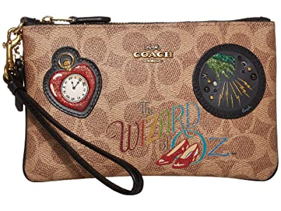 COACH Small Wristlet (Tan Black/Brass) Clutch Handbags