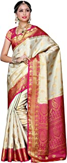 MIMOSA Women's Kanchipuram Pure Silk Saree With Unstitched Blouse Piece (225-HWT-RNI_Off-White)