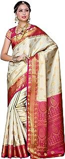 MIMOSA Aritificial Silk Saree Kanjivaram Style with Blouse Color :Off White