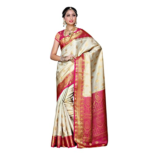 26ad3216336 Mimosa Women s Traditional Art Silk Saree Kanjivaram Style With Blouse  Color Off White(3300
