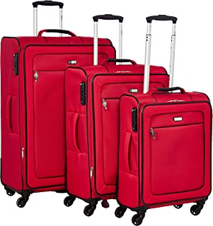 Stractic soft case trolley 3 pcs set with 4 wheel 9854-Red