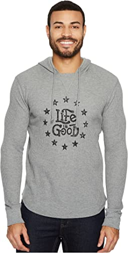 Star Circle Life Is Good® Hooded Waffle Pullover