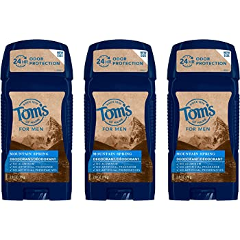 Tom's of Maine Long-Lasting Aluminum-Free Natural Deodorant for Men, 2.8 oz. 3-Pack Mountain Spring 8.4 Ounce