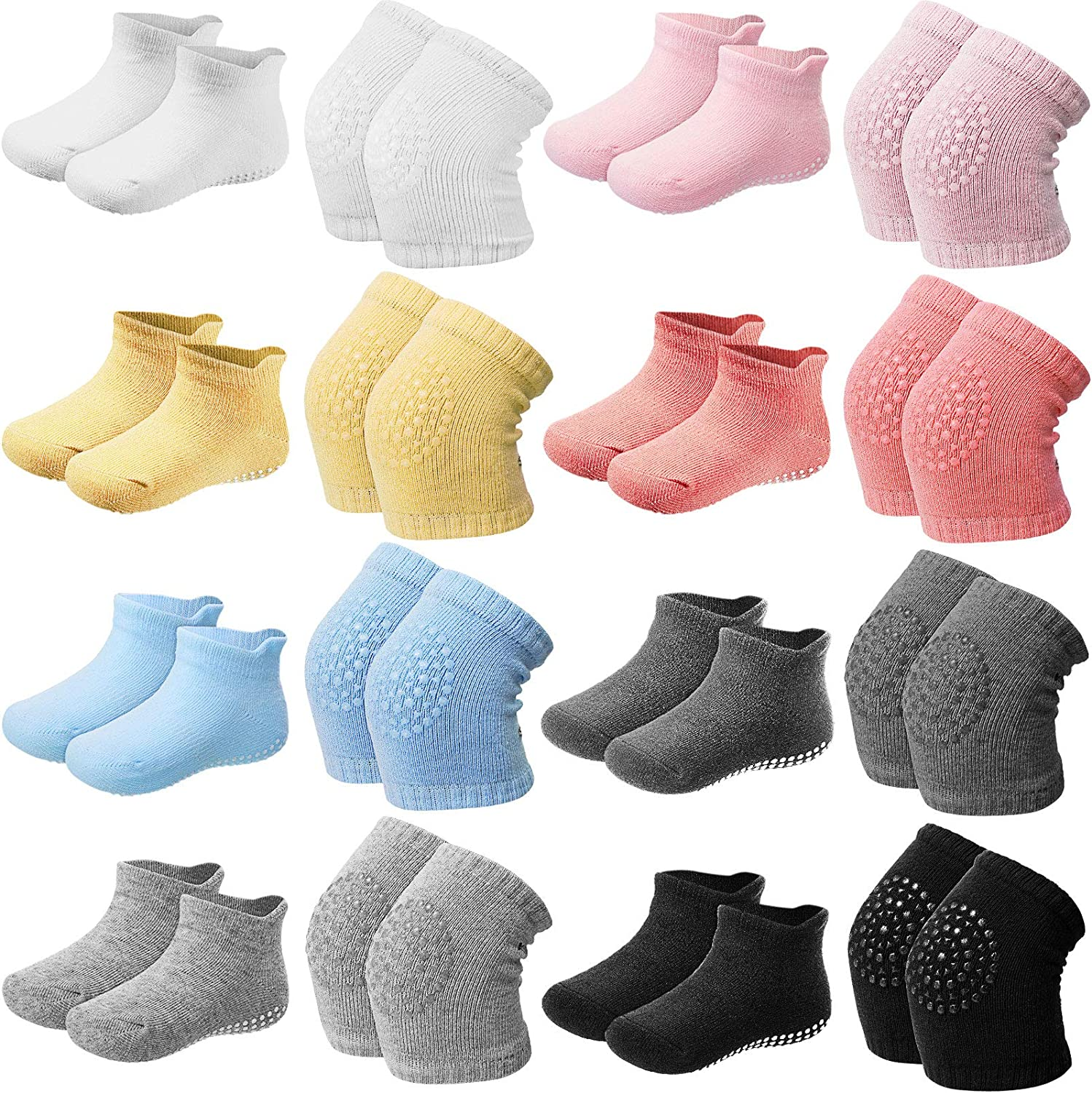 16 Pairs Toddler Knee Pads and Grip Crawling Socks Adjustable Elastic Baby Crawling Knee Pads for 1-3 Years Old Babies