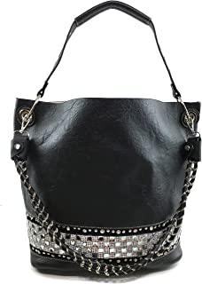 Justin West Rhinestone Bling Crystal Pastel Cross Body Large Handbag Tote Purse Black Makeup Pouch Bag Wallet