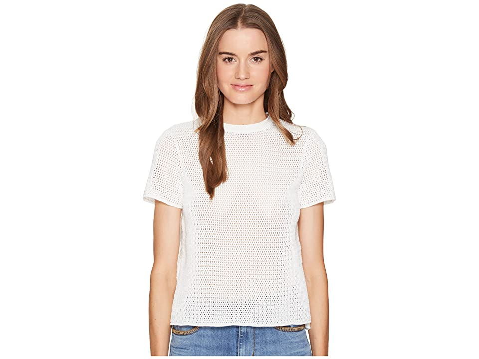 RED VALENTINO Cotton Yarn Mesh Stitching Lace Top (Latte) Women's Short Sleeve Pullover