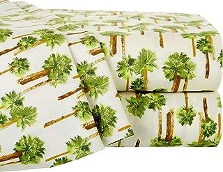 Elite Home Products 90 GSM Microfiber Coastal Beach-Themed Printed Sheet Set, Twin, Palm Tree Ivory