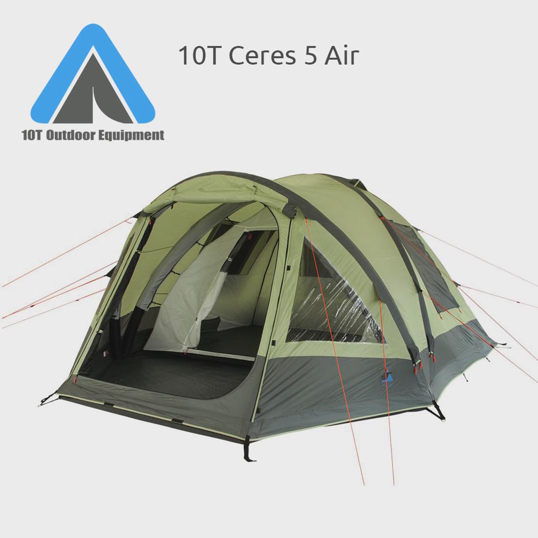 10T Camping Zelt Ceres 5 aufblasbares AirTube Kuppelzelt mit Schlafkabine für 5 Personen Outdoor Familienzelt mit Wohnraum, eingenähte Bodenwanne,